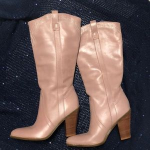 5.5B baby pink leather cowboy boots